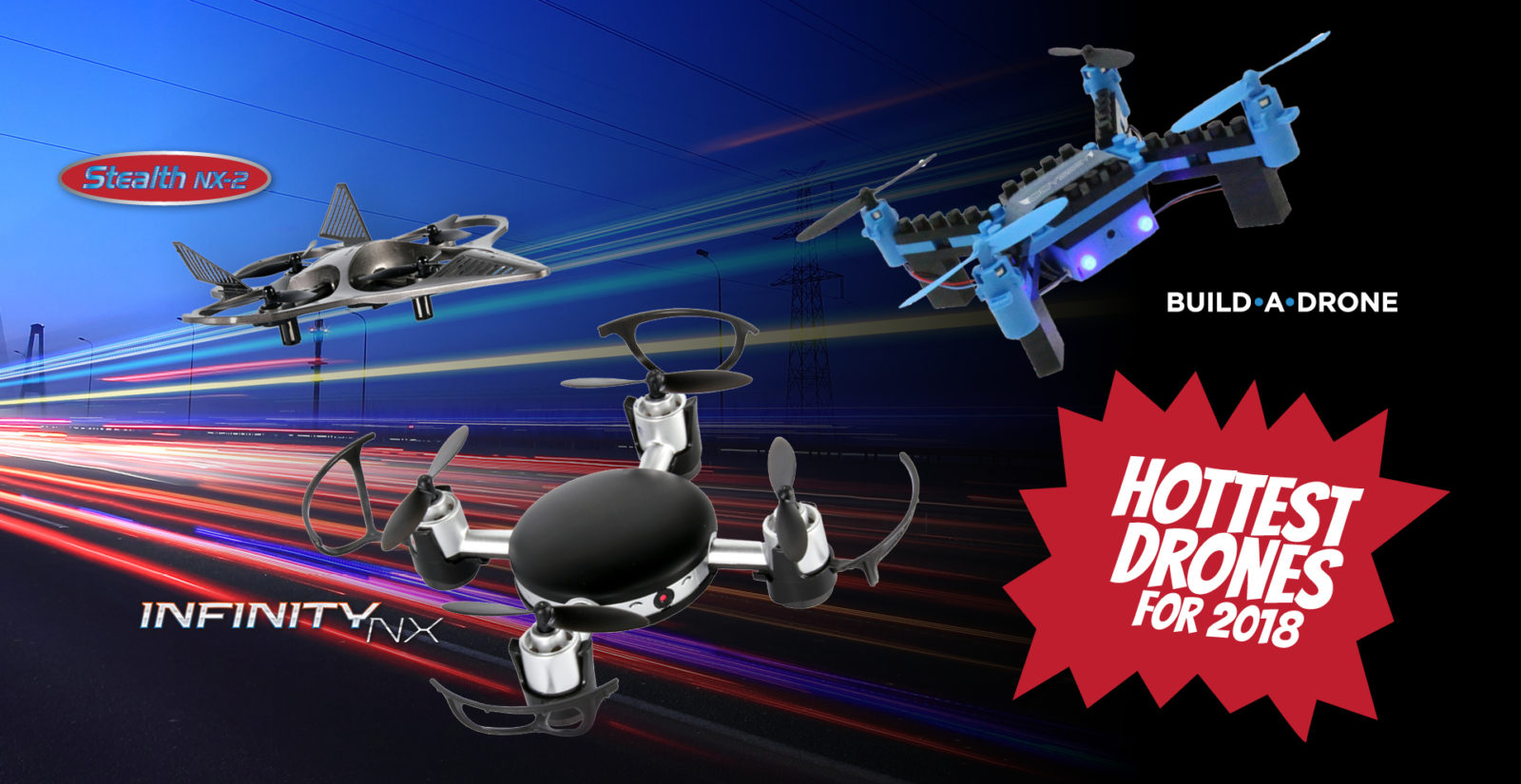 quad drone, odyssey toys, LEDs, LED lights, superb right LEDs, drone, fun drone, toy drone